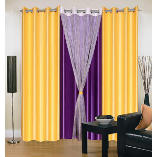 Akash Ganga Polyester Multicolor Long Door Eyelet Curtains (Set of 4) (9 Feet) CUR4-ST-427-9