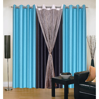 Akash Ganga Polyester Multicolor Long Door Eyelet Curtains (Set of 4) (9 Feet) CUR4-ST-429-9
