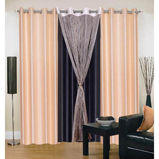 Akash Ganga Polyester Multicolor Long Door Eyelet Curtains (Set of 4) (9 Feet) CUR4-ST-433-9