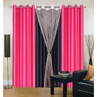 Akash Ganga Polyester Multicolor Long Door Eyelet Curtains (Set of 4) (9 Feet) CUR4-ST-435-9