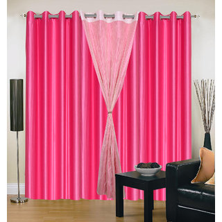 Akash Ganga Polyester Multicolor Long Door Eyelet Curtains (Set of 4) (9 Feet) CUR4-ST-436-9