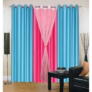 Akash Ganga Polyester Multicolor Long Door Eyelet Curtains (Set of 4) (9 Feet) CUR4-ST-440-9