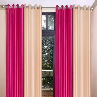 Akash Ganga Polyester Multicolor Long Door Eyelet Curtains (Set of 4) (9 Feet) CUR4-ST-450-9