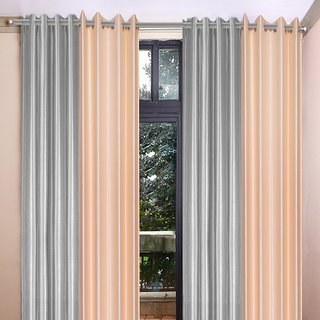Akash Ganga Polyester Multicolor Long Door Eyelet Curtains (Set of 4) (9 Feet) CUR4-ST-453-9