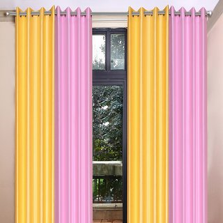 Akash Ganga Polyester Multicolor Long Door Eyelet Curtains (Set of 4) (9 Feet) CUR4-ST-458-9