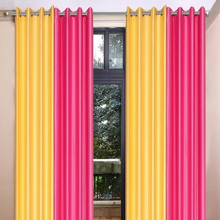 Akash Ganga Polyester Multicolor Long Door Eyelet Curtains (Set of 4) (9 Feet) CUR4-ST-459-9