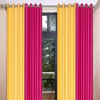 Akash Ganga Polyester Multicolor Long Door Eyelet Curtains (Set of 4) (9 Feet) CUR4-ST-460-9