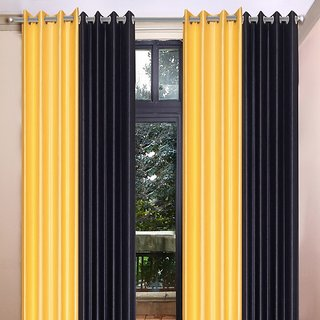 Akash Ganga Polyester Multicolor Long Door Eyelet Curtains (Set of 4) (9 Feet) CUR4-ST-463-9