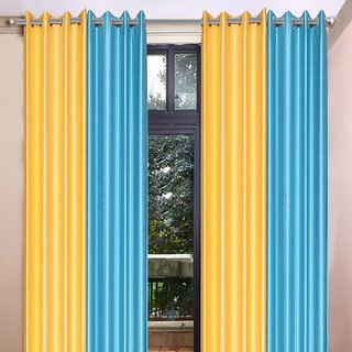 Akash Ganga Polyester Multicolor Long Door Eyelet Curtains (Set of 4) (9 Feet) CUR4-ST-464-9