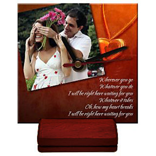 PHOTO WOODEN TABLE CLOCK 4 x 4 - PERSONALIZED CUSTOMISED GIFT