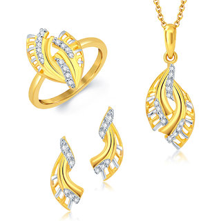 Sukkhi Delightly Gold and Rhodium Plated CZ Pendant Set Ring Combo