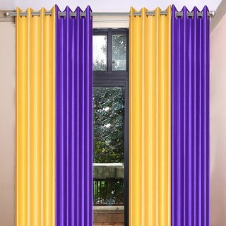 Akash Ganga Polyester Multicolor Long Door Eyelet Curtains (Set of 4) (9 Feet) CUR4-ST-465-9