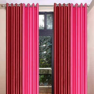 Akash Ganga Polyester Multicolor Long Door Eyelet Curtains (Set of 4) (9 Feet) CUR4-ST-468-9