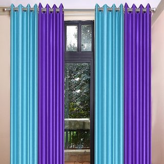 Akash Ganga Polyester Multicolor Long Door Eyelet Curtains (Set of 4) (9 Feet) CUR4-ST-469-9