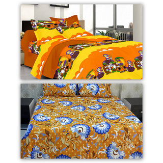 100 Cotton 2 Double Bed Sheets with 4 Pillow Covers by Valtellina