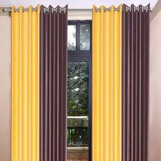 Akash Ganga Polyester Multicolor Long Door Eyelet Curtains (Set of 4) (9 Feet) CUR4-ST-466-9