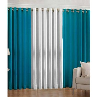 Akash Ganga Polyester Multicolor Eyelet Door Curtains (Set of 3) (7 Feet) CUR3-ST-108-7