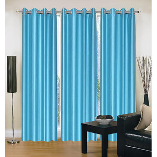 Akash Ganga Polyester Multicolor Eyelet Door Curtains (Set of 3) (7 Feet) CUR3-ST-111-7