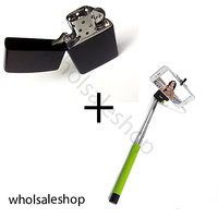 Earth Black Zippo type Lighter  Selfie stick with Aux cable