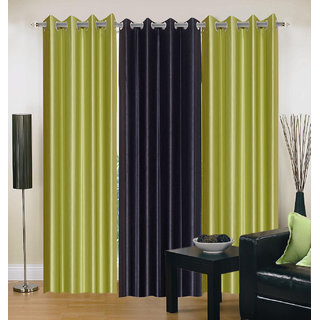 Akash Ganga Polyester Multicolor Eyelet Door Curtains (Set of 3) (7 Feet) CUR3-ST-128-7