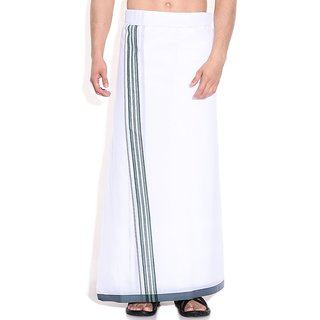 Fashionkiosks Mens Traditional 2 Inch Green Colour Border Dhoti VijayGreen210