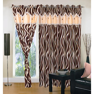 Akash Ganga Polyester Multicolor Eyelet Door Curtains (Set of 3) (7 Feet) CUR3-ST-132-7
