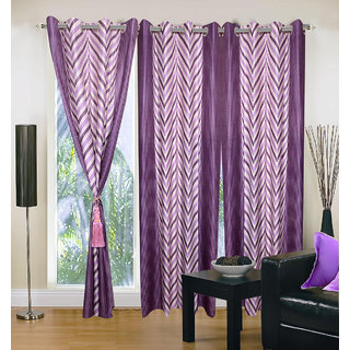 Akash Ganga Polyester Multicolor Eyelet Door Curtains (Set of 3) (7 Feet) CUR3-ST-133-7