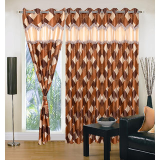 Akash Ganga Polyester Multicolor Eyelet Door Curtains (Set of 3) (7 Feet) CUR3-ST-135-7