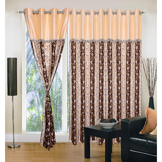 Akash Ganga Polyester Multicolor Eyelet Door Curtains (Set of 3) (7 Feet) CUR3-ST-136-7