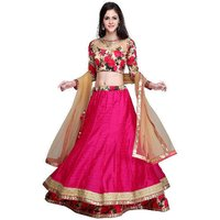 Janasya Pink Bordered Silk Lehenga Choli