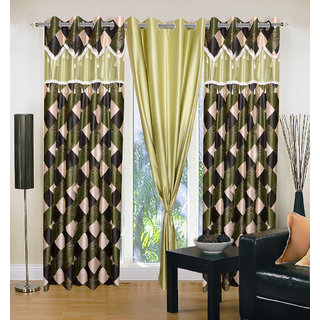 Akash Ganga Polyester Multicolor Eyelet Door Curtains (Set of 3) (7 Feet) CUR3-ST-139-7