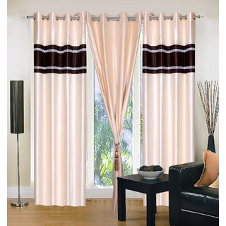 Akash Ganga Polyester Multicolor Eyelet Door Curtains (Set of 3) (7 Feet) CUR3-ST-140-7