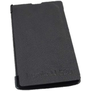 Black Leather Flip Book Cover Case For Nokia Lumia 520 / 521