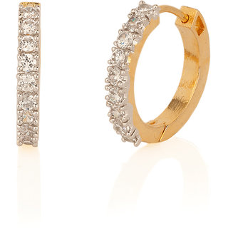 Gold Plated Elegant Hoops With Radiant Cz Stones