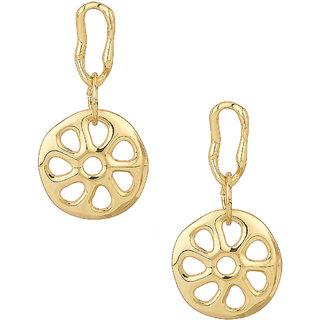 Round Wheel Inspired Design Silver Plating Dangler Earrings