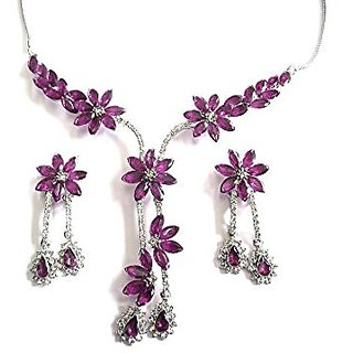 Purple Silver Plated Necklace With Earrings For Women
