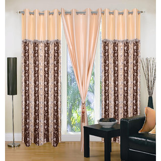 Akash Ganga Polyester Multicolor Eyelet Door Curtains (Set of 3) (7 Feet) CUR3-ST-141-7