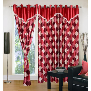 Akash Ganga Polyester Multicolor Eyelet Door Curtains (Set of 3) (7 Feet) CUR3-ST-143-7
