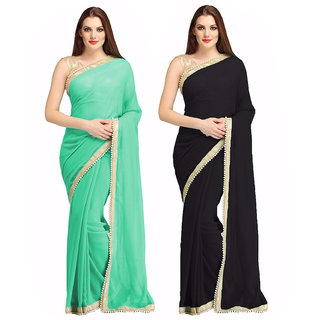 Thankar online trading Blue Georgette Plain Saree With Blouse (Combo)
