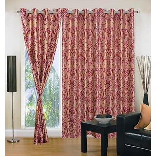 Akash Ganga Polyester Multicolor Eyelet Door Curtains (Set of 3) (7 Feet) CUR3-ST-146-7