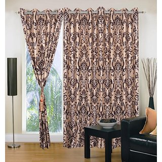 Akash Ganga Polyester Multicolor Eyelet Door Curtains (Set of 3) (7 Feet) CUR3-ST-147-7