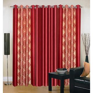 Akash Ganga Polyester Multicolor Eyelet Door Curtains (Set of 3) (7 Feet) CUR3-ST-151-7