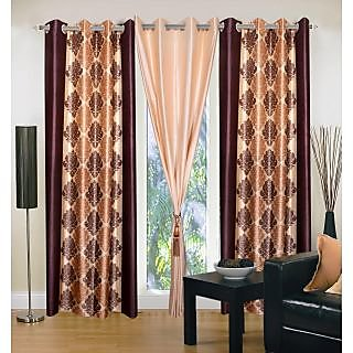Akash Ganga Polyester Multicolor Eyelet Door Curtains (Set of 3) (7 Feet) CUR3-ST-148-7
