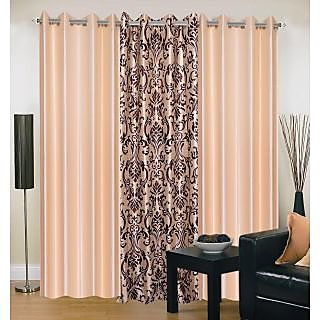 Akash Ganga Polyester Multicolor Eyelet Door Curtains (Set of 3) (7 Feet) CUR3-ST-153-7
