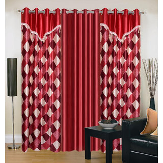 Akash Ganga Polyester Multicolor Eyelet Door Curtains (Set of 3) (7 Feet) CUR3-ST-157-7