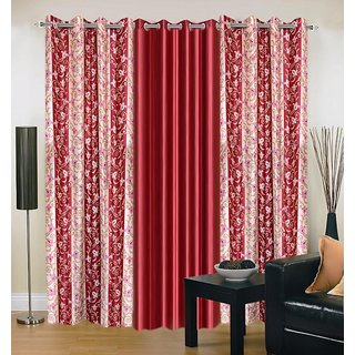 Akash Ganga Polyester Multicolor Eyelet Door Curtains (Set of 3) (7 Feet) CUR3-ST-158-7