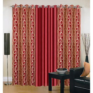 Akash Ganga Polyester Multicolor Eyelet Door Curtains (Set of 3) (7 Feet) CUR3-ST-159-7