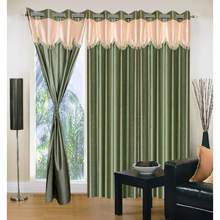 Akash Ganga Polyester Multicolor Eyelet Door Curtains (Set of 3) (7 Feet) CUR3-ST-160-7