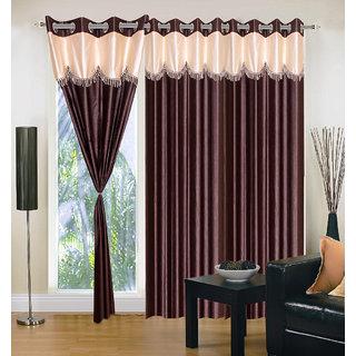 Akash Ganga Polyester Multicolor Eyelet Door Curtains (Set of 3) (7 Feet) CUR3-ST-161-7