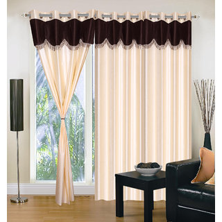 Akash Ganga Polyester Multicolor Eyelet Door Curtains (Set of 3) (7 Feet) CUR3-ST-162-7